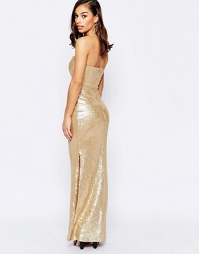 photo Bandeau Maxi Dress In Sequins by Lipstick Boutique Petite, color Gold - Image 2