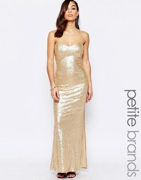 photo Bandeau Maxi Dress In Sequins by Lipstick Boutique Petite, color Gold - Image 1