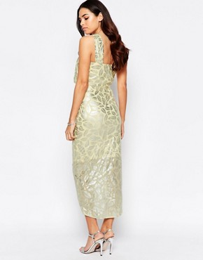 photo Royal Halter Dress In Foil by VLabel London, color Yellow - Image 2