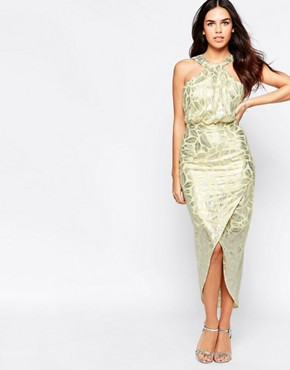 photo Royal Halter Dress In Foil by VLabel London, color Yellow - Image 1
