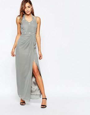 photo Bow Maxi Dress with Embellishment and Side Split by VLabel London, color Silver - Image 1