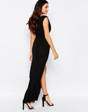 photo Priory Maxi Dress with Split by VLabel London, color Black - Image 2