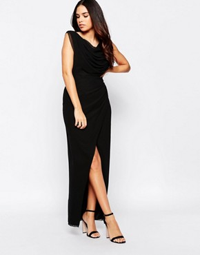 photo Priory Maxi Dress with Split by VLabel London, color Black - Image 1