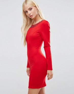photo Gwyneth Long Sleeve Scoop Back Mini Dress With Embelishment by Forever Unique, color Red - Image 2