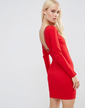 photo Gwyneth Long Sleeve Scoop Back Mini Dress With Embelishment by Forever Unique, color Red - Image 1