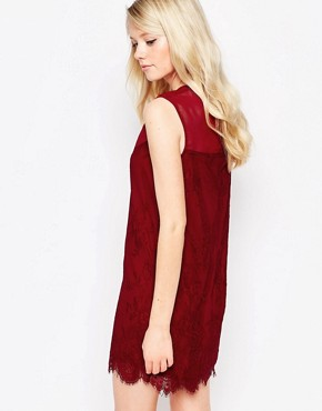 photo Rogers Shift Dress with Lace Overlay by Jovonna, color Wine - Image 2