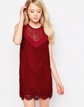 photo Rogers Shift Dress with Lace Overlay by Jovonna, color Wine - Image 1
