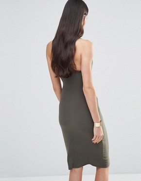 photo Midi Dress with Cross Back Straps by Love, color Khaki - Image 2