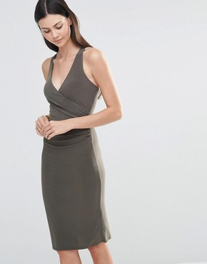 photo Midi Dress with Cross Back Straps by Love, color Khaki - Image 1