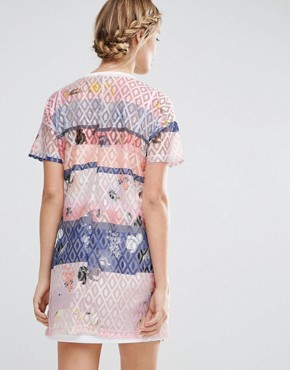 photo Lace Printed Shift Dress with Slip by ASOS Maternity, color  - Image 2