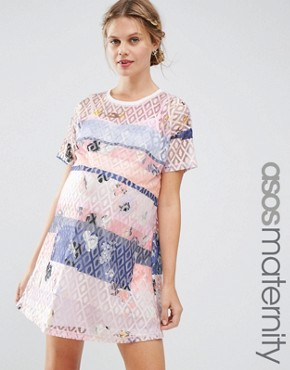 photo Lace Printed Shift Dress with Slip by ASOS Maternity, color  - Image 1