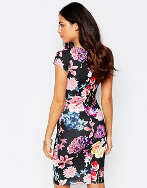 photo Abi Floral Pencil Dress with Ruched Waist by Jessica Wright, color Blue Floral - Image 2