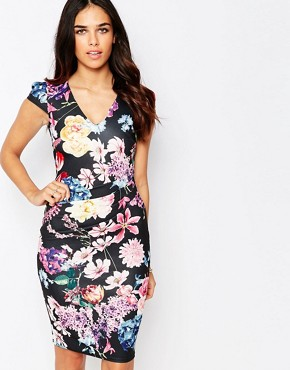 photo Abi Floral Pencil Dress with Ruched Waist by Jessica Wright, color Blue Floral - Image 1