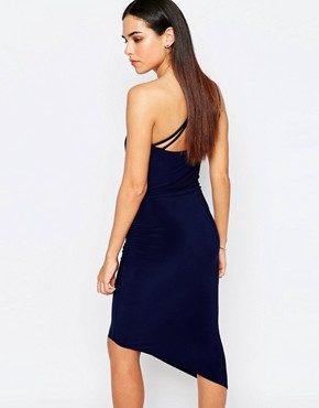 photo Perry One Shoulder Asymmetric Hem Dress with Disc Detail by Jessica Wright, color Navy - Image 2