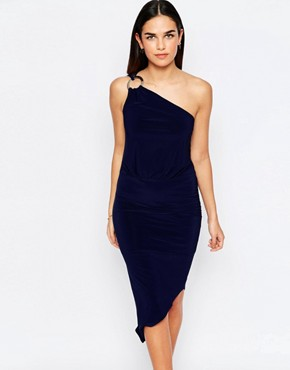 photo Perry One Shoulder Asymmetric Hem Dress with Disc Detail by Jessica Wright, color Navy - Image 1