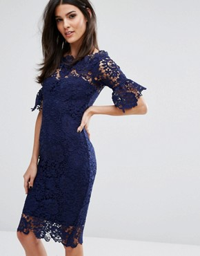 photo Off Shoulder Crochet Dress with Frill Sleeve by Paper Dolls, color Navy - Image 1