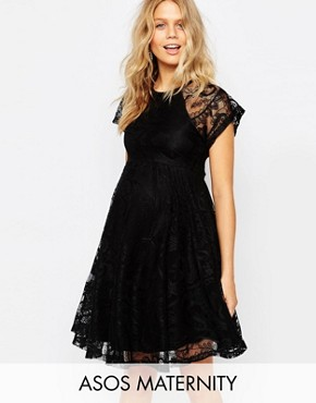photo Flutter Sleeve Lace Skater Dress by ASOS Maternity, color Black - Image 1