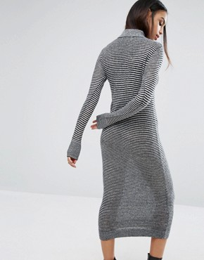 photo Moves Ribbed High Neck Jumper Dress by Minimum, color Black - Image 2