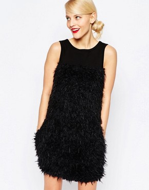 photo Fur Panelled Dress by Love Moschino, color Black - Image 1