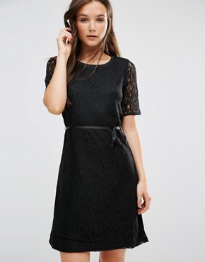 photo Short Sleeve Shift Dress by b.Young, color Black - Image 1
