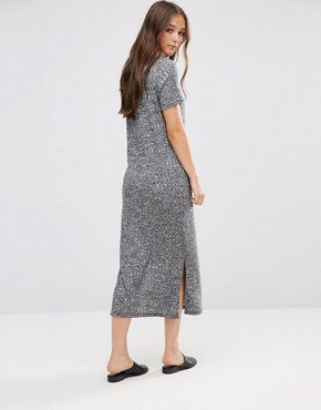 photo Short Sleeve Knitted Bodycon Dress by b.Young, color Dark Grey Melange - Image 2