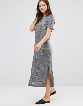 photo Short Sleeve Knitted Bodycon Dress by b.Young, color Dark Grey Melange - Image 1