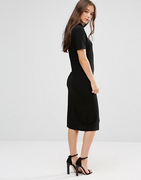 photo Short Sleeve Knitted Bodycon Dress with Button Detail by b.Young, color Black - Image 2