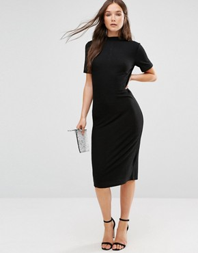 photo Short Sleeve Knitted Bodycon Dress with Button Detail by b.Young, color Black - Image 1