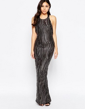 photo Leone Premium Sequin Low Back Maxi Dress by Girl In Mind, color Black - Image 2