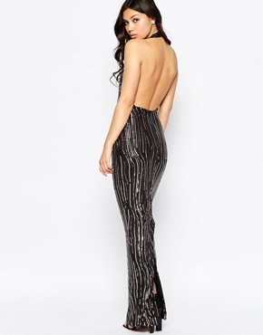 photo Leone Premium Sequin Low Back Maxi Dress by Girl In Mind, color Black - Image 1