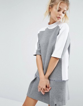 photo Court Sweat Dress with Drop Waist by Nike, color Carbon Heather/White - Image 1