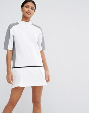 photo Court Sweat Dress with Drop Waist by Nike, color White/Carbon Heather - Image 1