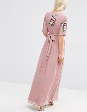 photo Wrap Maxi Dress with Embroidered Peacock and Flower Detail by ASOS PREMIUM, color Pink - Image 2