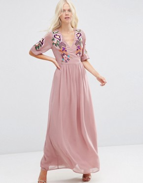 photo Wrap Maxi Dress with Embroidered Peacock and Flower Detail by ASOS PREMIUM, color Pink - Image 1