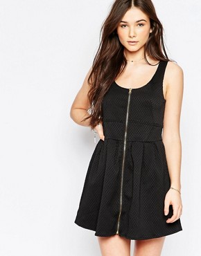photo Skater Dress with Zip Front by Wal G, color Black - Image 1