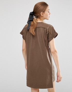 photo Organic Cotton Roll Sleeve Tunic Dress by People Tree, color Khaki - Image 2