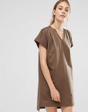 photo Organic Cotton Roll Sleeve Tunic Dress by People Tree, color Khaki - Image 1