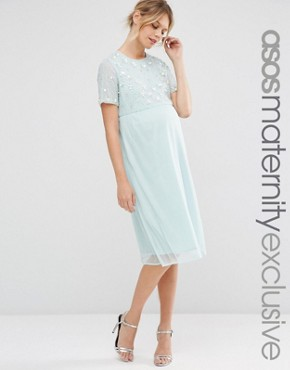 photo Pearl Embellished Midi Dress by ASOS Maternity, color Mint - Image 1