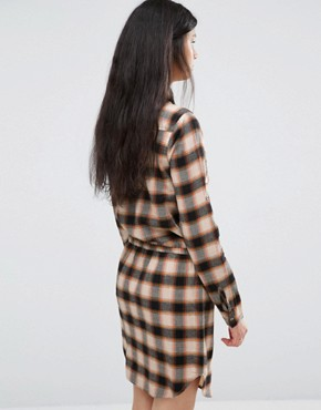 photo Cream Mix Check Dress by Blend She, color Brown - Image 2