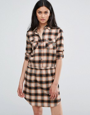 photo Cream Mix Check Dress by Blend She, color Brown - Image 1