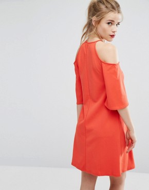 photo Cold Shoulder Swing Dress by New Look, color Bright Red - Image 2