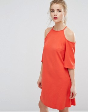 photo Cold Shoulder Swing Dress by New Look, color Bright Red - Image 1