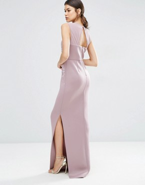 photo Lace Placed Sweetheart Maxi Dress by ASOS TALL RED CARPET, color Dark Purple - Image 2