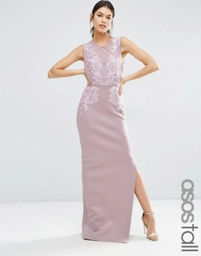 photo Lace Placed Sweetheart Maxi Dress by ASOS TALL RED CARPET, color Dark Purple - Image 1