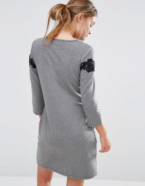 photo 3/4 Sleeve Shift Dress With Lace Detail by Girls on Film, color Grey - Image 2
