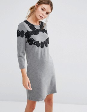 photo 3/4 Sleeve Shift Dress With Lace Detail by Girls on Film, color Grey - Image 1