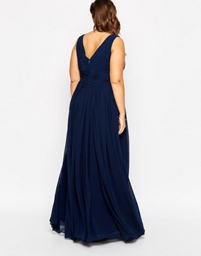 photo Plunge Neck Maxi Dress by Forever Unique Plus, color Navy - Image 2