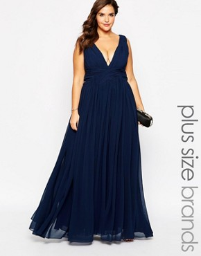photo Plunge Neck Maxi Dress by Forever Unique Plus, color Navy - Image 1