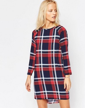 photo Long Sleeve Oversize Check Dress by Native Youth, color Navy/Red - Image 1