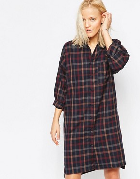 photo Twill Check Shirt Dress by Native Youth, color  - Image 1